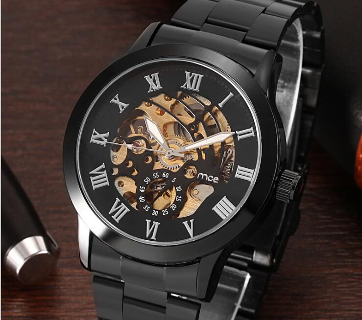 All black Male Wristwatch Skeleton Dial Mechanical hand-wind Clock Men's Wrist Watches Stainless Steel Mesh Band Relogio Masculi new binkada men s automatic mechanical watches black dial stainless steel strap hand wind male wristwatch relogio masculino