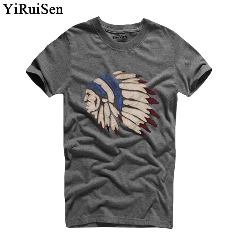 Mens Moda Camisas T 2018 YiRuiSen Marca Dos Homens de Manga Curta Camisa de T Dos Homens Casual 100% Algodão Camiseta Tops Camisetas Hombre Camisa