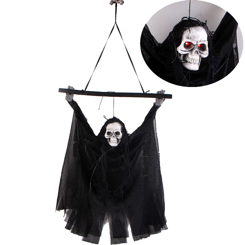 US $6 45 5% OFF|Halloween Hanging Skull Ghost Phantom Scary Sound Effect  Party Decoration Props-in Party DIY Decorations from Home & Garden on