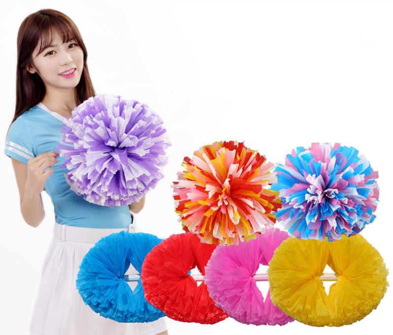 Free Shipping Sports Pompoms Cheerleader Pompons High Quality Cheerleading Supplies Color And Handle Can Choose