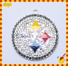 50MM 10pcs/lot Sport team AAA Quality Steeler Rhinestone Pendant for kid's Necklace Jewelry