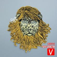 Embroidery big lion patches for jackets,animals badges jeans,animals applique A18