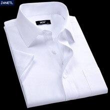 Casual camisa clothing masculina рабочая сплошной коротким рубашки бренд мужской рукавом
