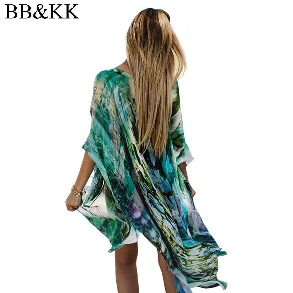 Női nyári blúz Beach Boho Kimono kardigán Gradient Ramp Boho nyomtatott ujjú alkalmi laza hosszú strand kabát felső