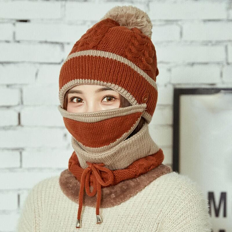 Thick Winter Women Hats   Skullies     Beanies   Knitted Hat   Beanies   For Women Girl Wool Scarf Caps Balaclava Mask Hat Gorras Bonnet