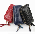 2017 New Double Zipper Leather Handbag Female Package Large Capacity Hand Holding The Package Cowhide Coin Wallet Phone Bag