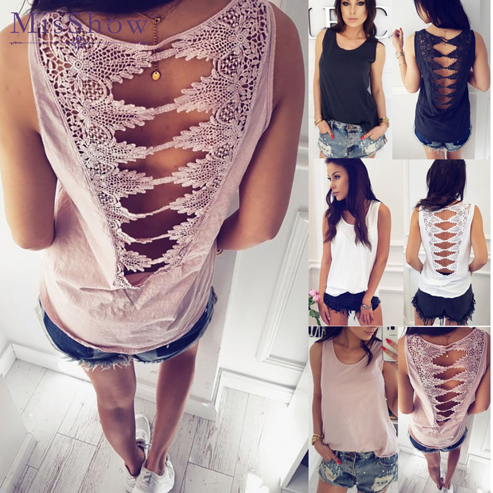 2019 Summer Sexy Low-cut Basic T-shirts Lace Hollow Out Back Loose   Tank     Top   Solid Sleeveless Camisole   Tops   Women's Vest Cheap