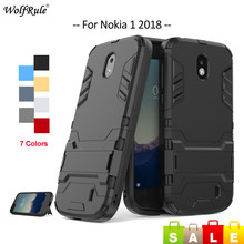 hot deal buy for cover nokia 1 case soft tpu silicone & pc holder bumper phone case for nokia 1 cover for nokia 1 2018 case 4.5'' wolfrule