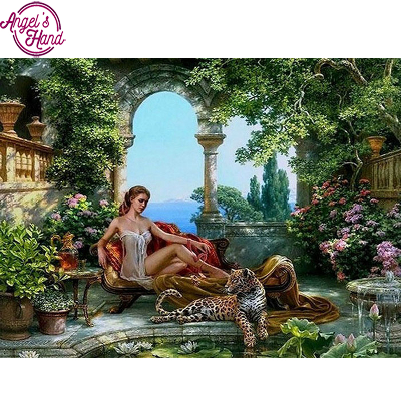Full Mosaic Pasted Diamond Painting girl leopard DIY diamond Embroidery Pattern 3D Cross Stitch Kits Crafts Wall Sticker Decor