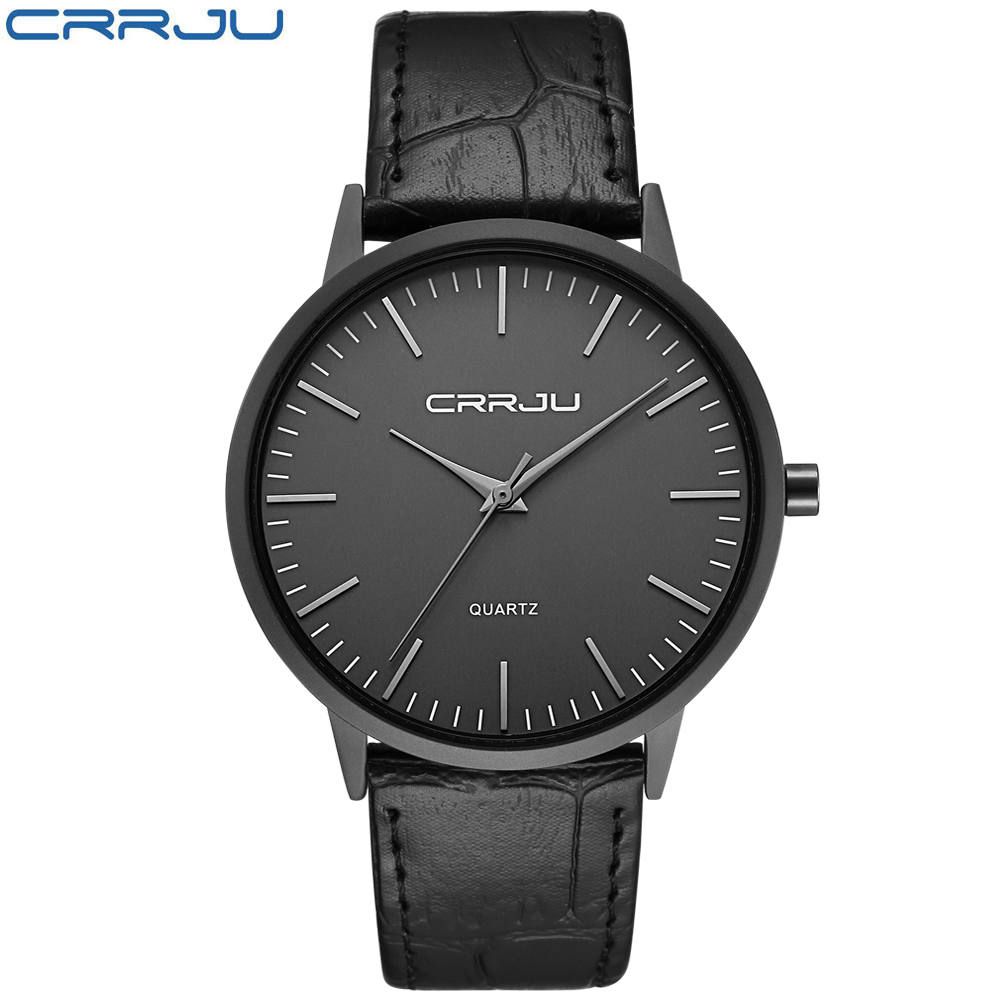 CRRJU New Top Brand Luxury Casual Leather Wrist Watch for Men Waterproof Super font b Slim