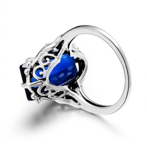 Image 4 - 100% Handmade Real 925 Sterling Silver Rings For Women Classic Big Lab Sapphire Stone Anniversary Ring Fine Jewelry Best Gift
