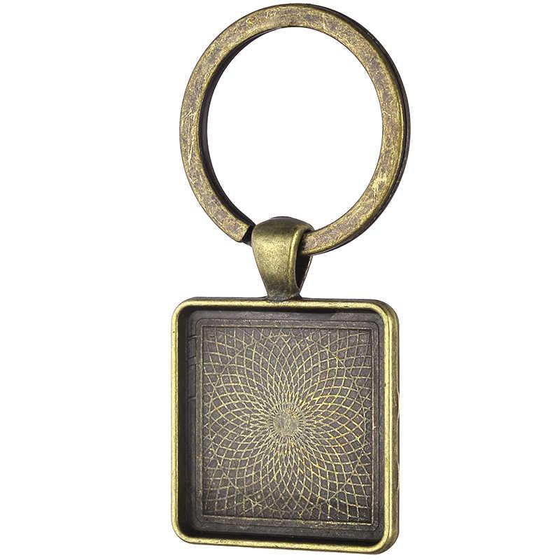 TAFREE DIY בעבודת יד אישית מותאם אישית כיכר Keychain טבעת תינוק בן משפחה תמונה Keyring שרשרת מחזיק מתנה לחתונה NA01