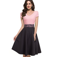 Women Elegant Floral Lace Patchwork Dress Cap Sleeve Vintage Slim Tunic Summer Casual Work Party Swing