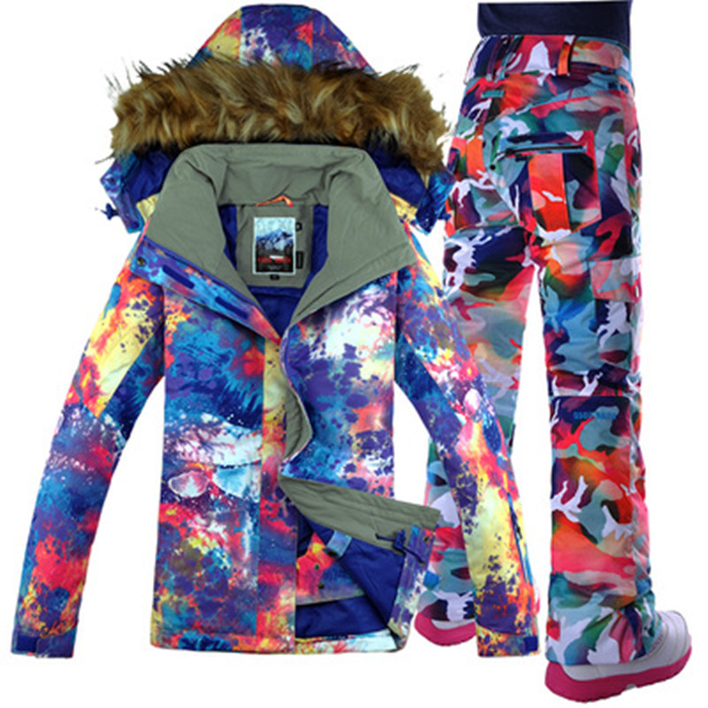 Women Ski Suit Snowboard Jacket Waterproof Jacket Pant Thermal Suit Windproof Skiing Snowboard Suit Super Warm Female Clothing le suit women s water lilies woven pant suit with scarf