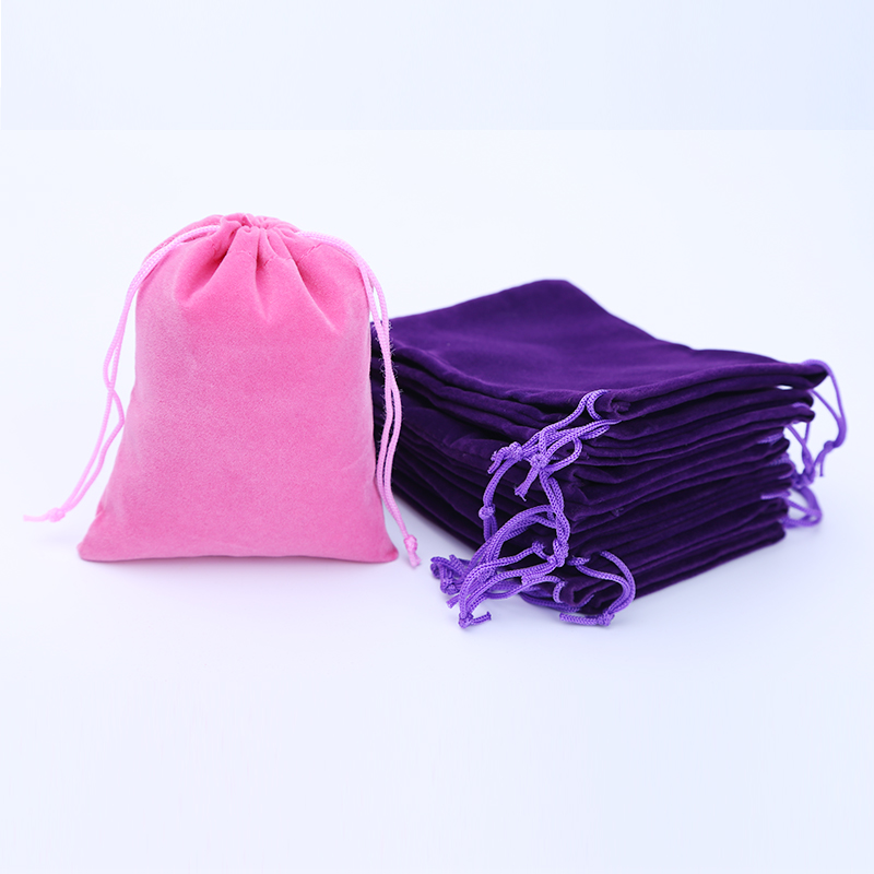 100pcs/lot 8x10cm Drawable Velvet Jewelry Bags Christmas Gift Bags Purple Cheap Gift Pouches Custom Logo Printed Wholesale