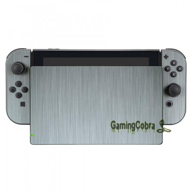 Silver Skin Sticker Covers + 2 Pcs Glass Screen Protectors for Nintendo Switch Console Joy-con - YSNS0344+NSPJ0014GC 3