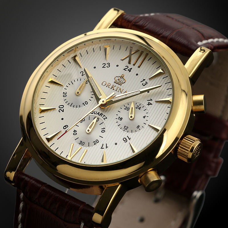 ФОТО 2017 MG.Orkina Men's Gold 6 Hands Quartz Sport Watch PU Leather Strap Wirst Watches Gift Box Free Ship