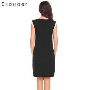 Image 4 - Ekouaer Sleepwear Womens Casual Cute Comfort Sleeveless Nightdress Summer Lace Patchwork O Neck Nightgown Tank Dress