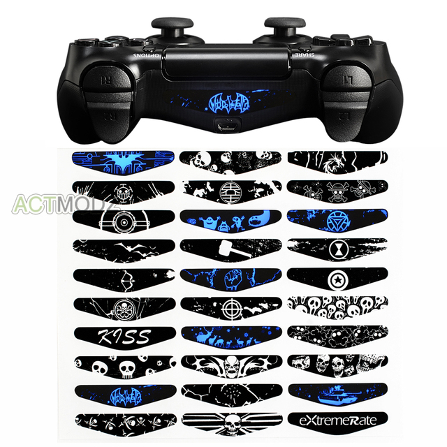eXtremeRate Skull Ghost LED Light Bar Skin Sticker For PS4 Slim Pro Game Controller
