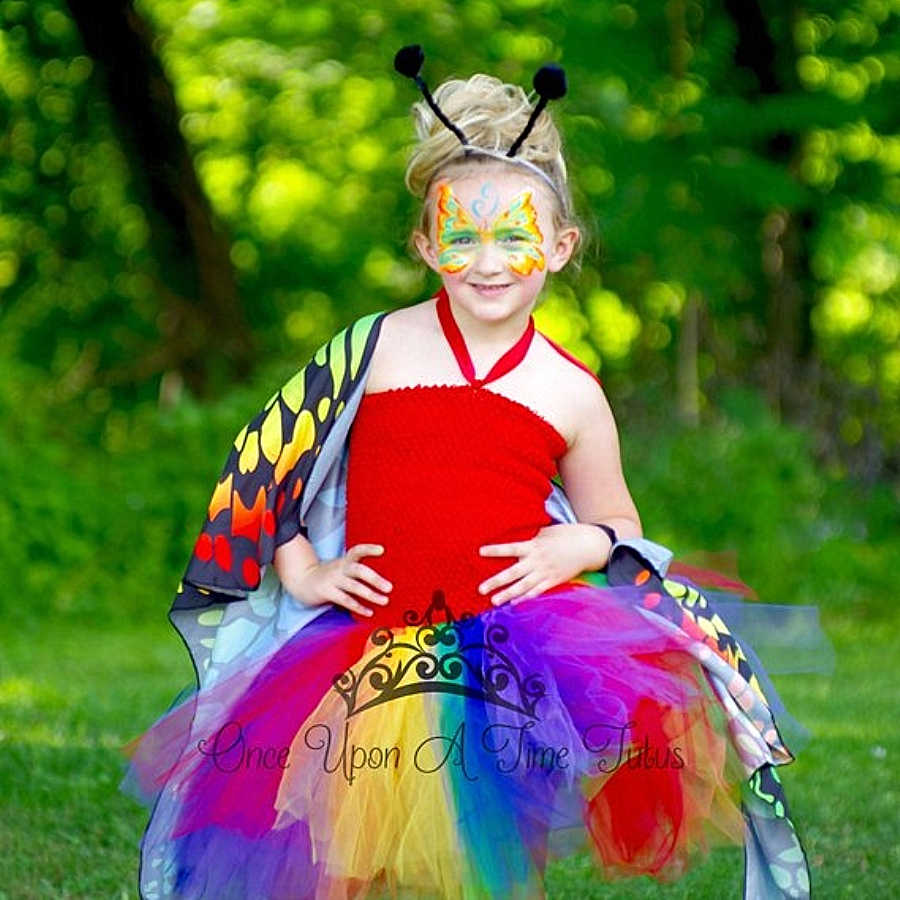 2ec78bf204b7a Bright Rainbow Butterfly Baby Girl Tutu Dress Tween Little Kids Girls  Halloween Costume Outfit With Headband&Wing For 1-14Y 2018