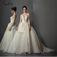 2019 Newest Deep V Neck Wedding Dress Simple Ivory Strapless Court Train Ball Gown Bride Dresses vestido de noiva