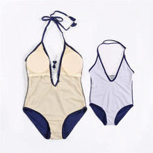 Family Match Mom Daughter Lace V neck  Monokini Swimwear Swimsuit