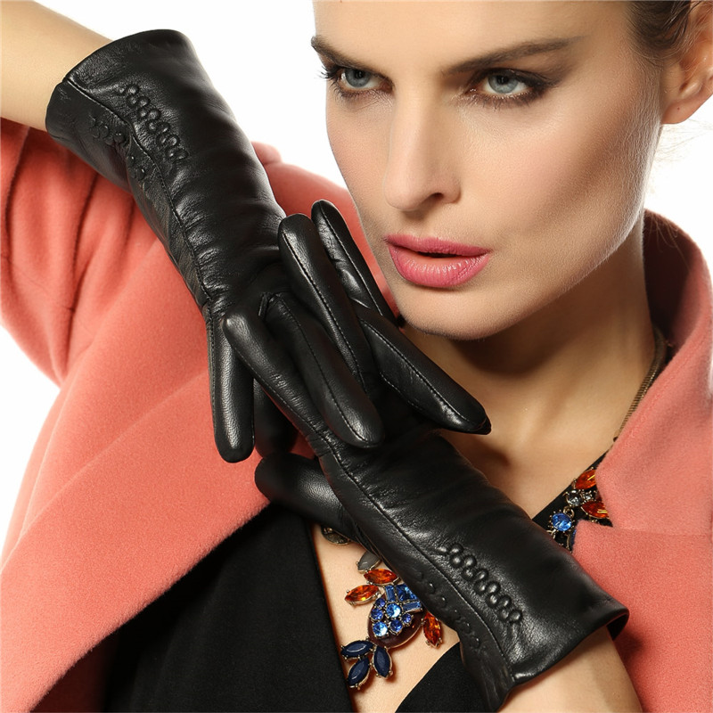Image 2 - Women Gloves 2019 Thermal Soft Lined Winter Genuine Leather Glove Wrist Solid Fashion Dressing Lambskin Free Shipping L013NC-in Women's Gloves from Apparel Accessories