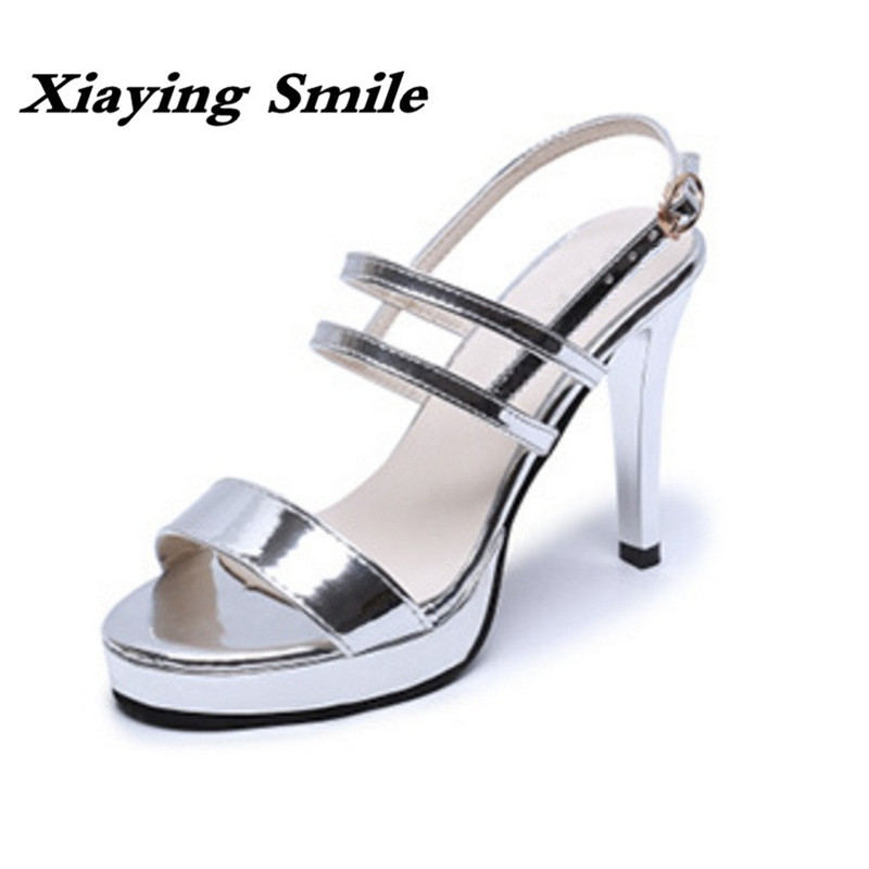 Xiaying Smile Summer Woman Sandals Platform High Thin Heel Buckle Strap Women Pumps Fashion Polish Shoes Lady Bling Women Shoes xiaying smile woman sandals shoes women pumps summer casual platform wedges heels buckle strap flock hollow rubber women shoes