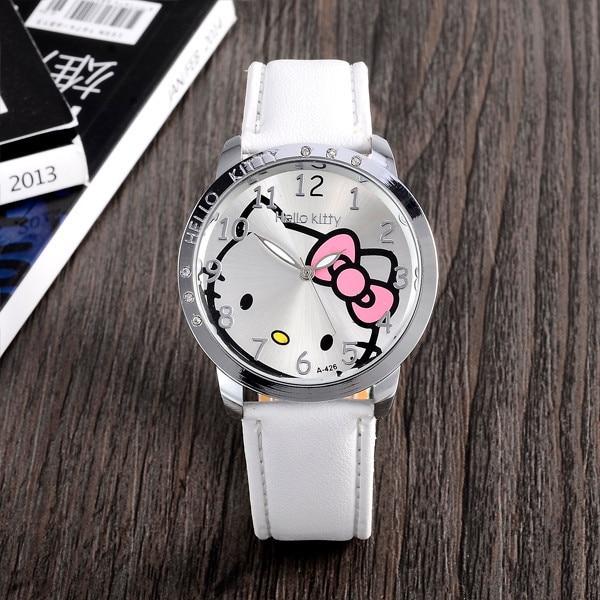 c55272c08 Cartoon Fashion Brand Hello Kitty Quartz Watch Children Girl Women Leather Crystal  Wrist Watch Kids Wristwatch Clock relogio-in Children's Watches from ...