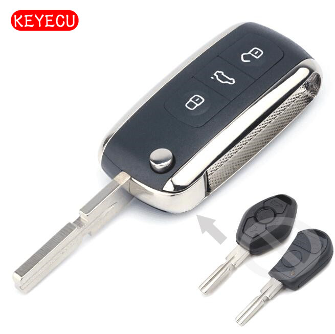 Keyecu Bentley Style Folding Remote Key Fob 3 Button 315/433MHZ ID44 CHIP For BMW For BMW All Models 1995-2005 HU58