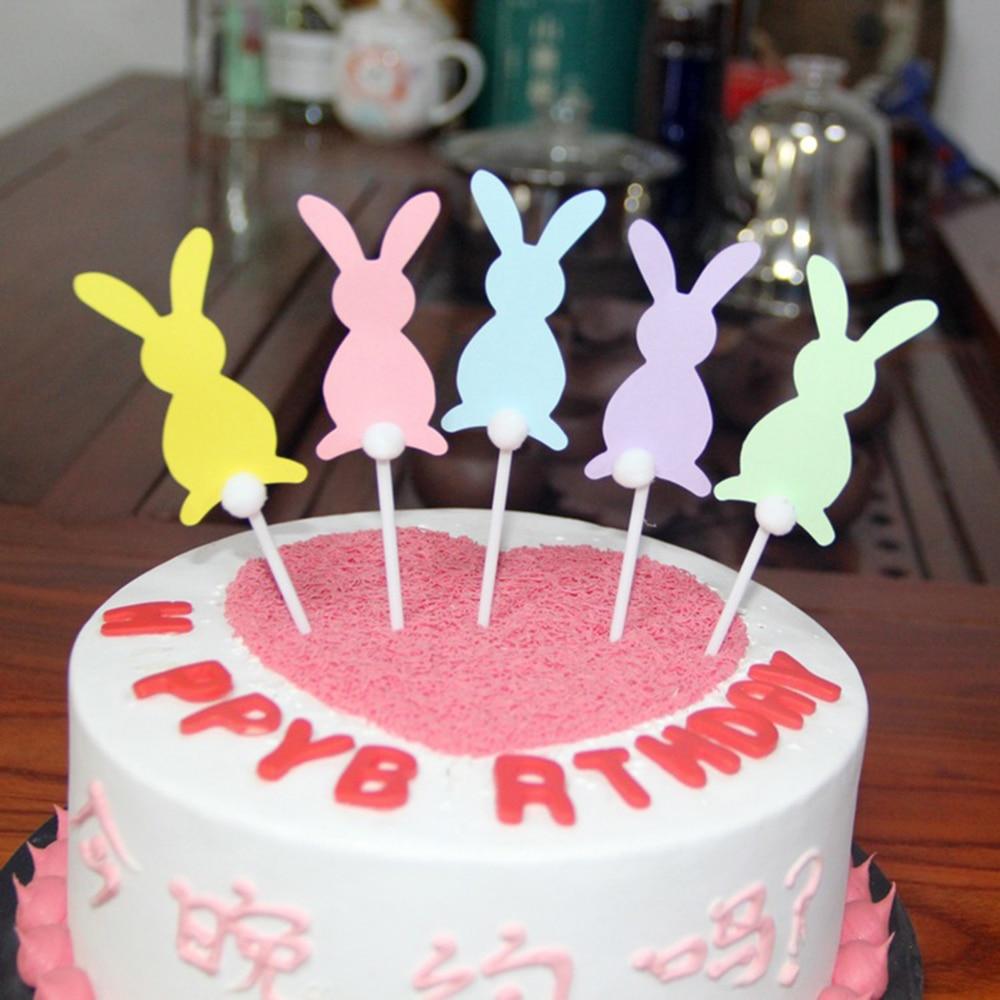 Phenomenal 5Pcs Set Cartoon Bunny Cupcake Wrapper Birthday Party Decorations Personalised Birthday Cards Veneteletsinfo