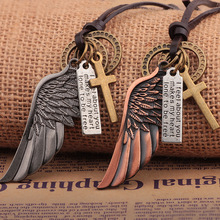 2019 New Creative Mens Womens Jewelry Vintage Cross Angel Wing Pendant Necklace Long Leather Charms