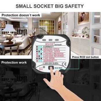 Bside Ast01er Soquete Tester Tomada Tester Plugue Da Ue Polaridade De Circuito Elétrico Automático Detector Tensão Plugue Parede Disjuntor Finder