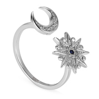 Noble Generous 925 Sterling Silver Jewelry Rings White And Blue Cubic Zirconia S K224 Explosion Models