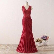 Echt Bild V-ausschnitt Red Mermaid Abendkleider 2017 Tüll Sehen durch Perlen Lange Prom Kleider Vestido de Festa Open Back FE58