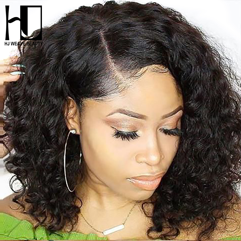 Short Lace Front Human Hair Wigs Peruvian Natural Wave Remy Hair Bob Wig with Pre Plucked