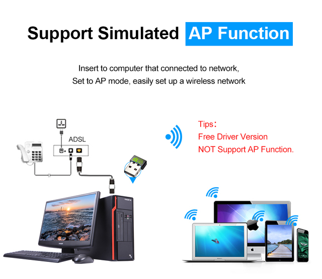 Mini USB WiFi Adapter 150Mbps Wi-Fi Adapter For PC USB Ethernet WiFi Dongle 2.4G Network Card Antena Wi Fi Receiver 1