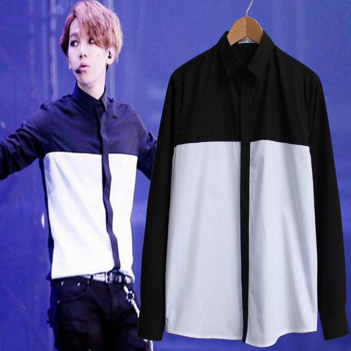 Black And White Shirt Men Korean Fashion 2017 New Arrival Male Shirt Contrast Color EXO Same