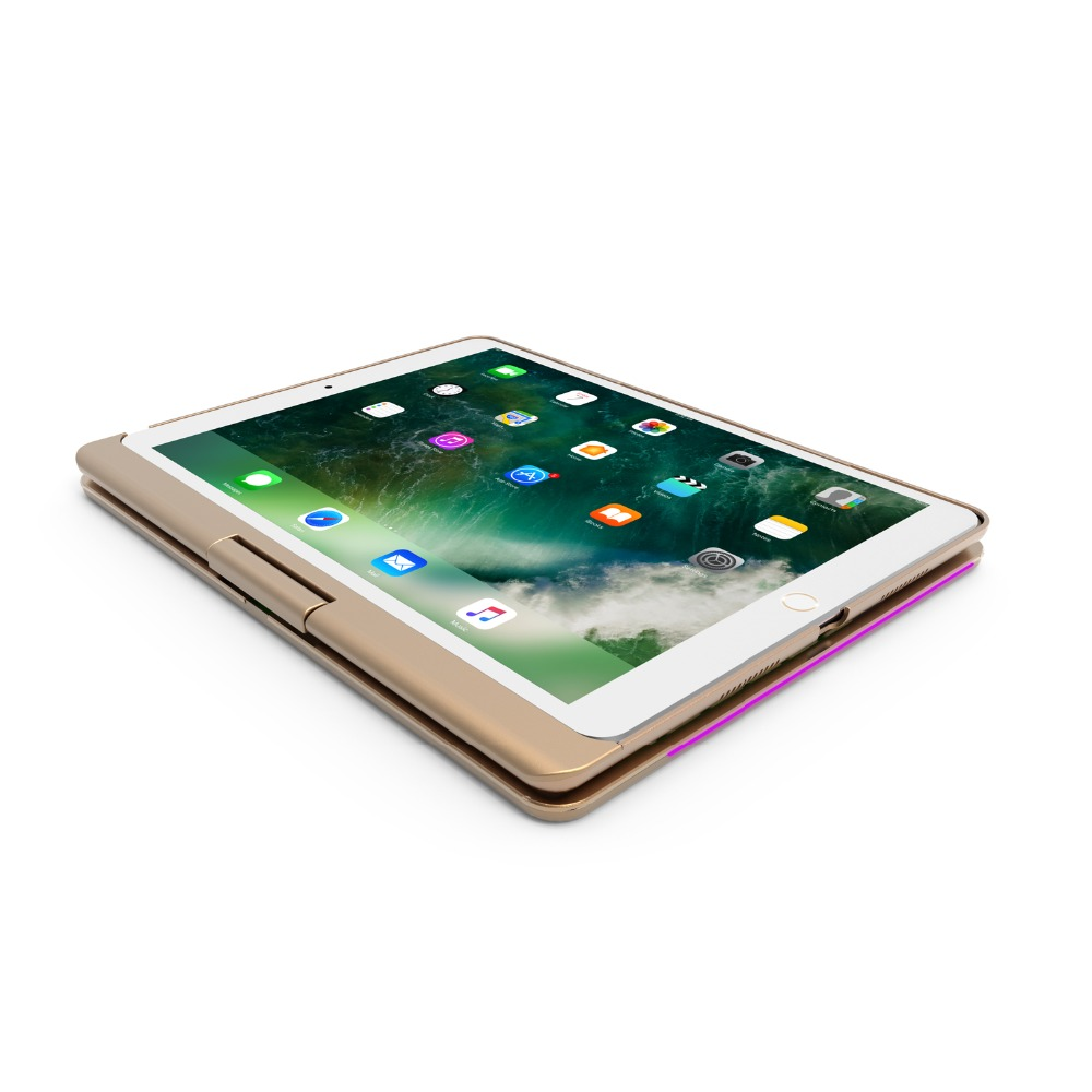 360 Rotating Bluetooth 7 Colors Backlit Aluminum Keyboard Case Cover For iPad 2017 2018 9.7 inch iPad Air 12 Pro 9.7 10.5 2019