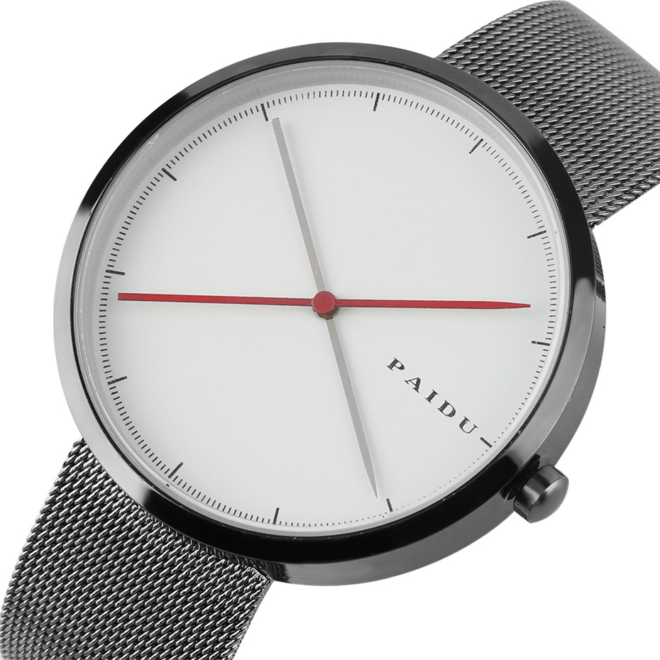PAIDU Casual Simple White Round Dial Wrist Watch Men Mesh Metal Band Quartz Man Watches 2018 New Male Clock Christmas Gifts paidu splice color dial quartz mesh stainless steel strap wrist watch simple stylish men women casual round dial modern
