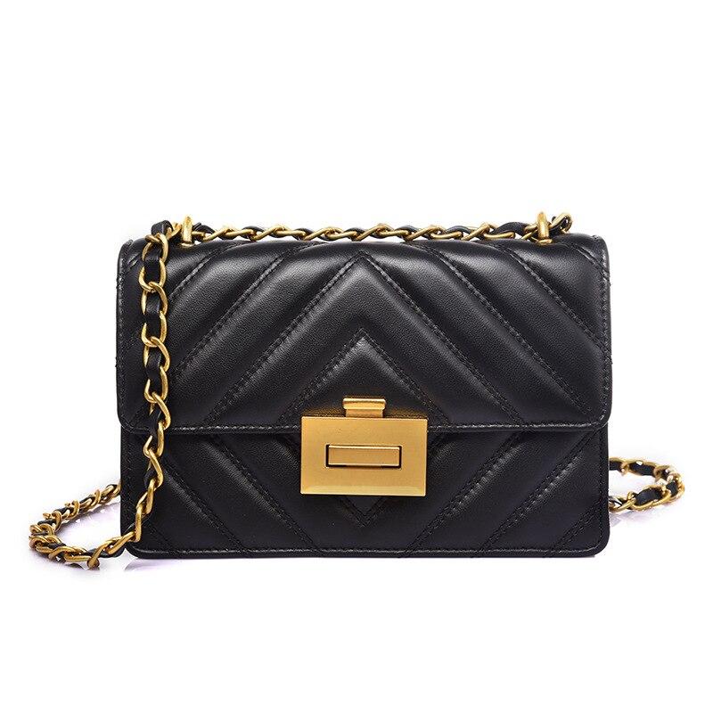 Sheepskin small square bag light luxury chain bag ladies lock buckle handbag Genuine Leather women shoulder