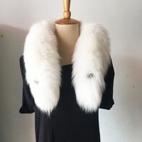 Real fur scarf Collar Fashion Winter Warm Fur Snow Fox Arctic Fox Tail 100% Real Fox Fur Scarf Collar Men &Women Long 90cm