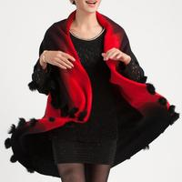 2014 New Plus Size Korean Women Woolen Coat Long Cardigan Sweater Shawl Cape Cloak Bat Sleeved