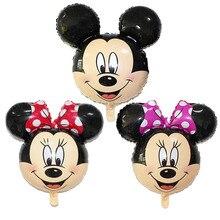 Cute adorável Mini Mickey Minnie Mouse Balões Folha Forma Dos Desenhos Animados 30*35 CM Cabeça de Ar Inflável Balões da Festa de Aniversário decoração Brinquedo