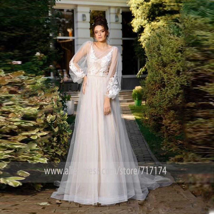Two Layer Scoop Tulle Neckline Long Applique Sleeves A line Wedding Dress with Beading Belt Pearls