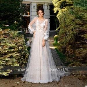 Image 1 - שתי שכבה סקופ טול מחשוף ארוך Applique שרוולים אונליין חתונת שמלה עם אגלי חגורת פנינים חזרה משפט רכבת כלה שמלה
