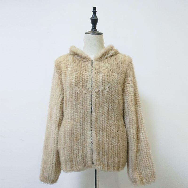 Cappotto di pelliccia naturale con cappuccio di vera giacca di pelliccia di visone lavorato a maglia inverno caldo cappotto di pelliccia per le donne beige grigio di colore 60 cm lungo K127