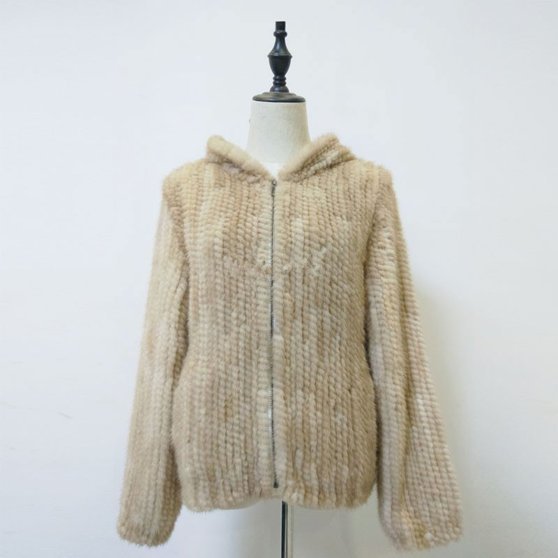Naturel manteau de fourrure avec capuche fourrure de vison real veste tricoté chaud manteau de fourrure d'hiver pour femmes beige gris couleur 60 cm long K127