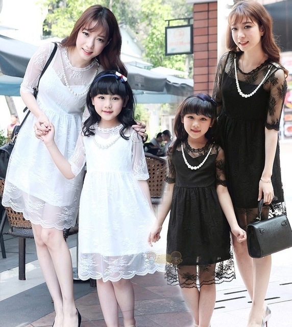 FAMILY Lace Dresses New Summer Woman Daughter Patry Dresses, Girls Family clothes, Kids Girl dress