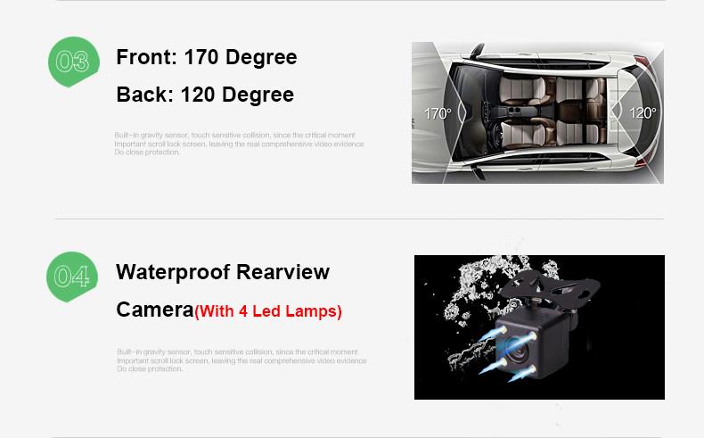 E-ACE Car Dvr Camera Led Lights Blue Rearview Mirror FHD 1080P Night Vision Video Recorder Dual Lens Auto Registrator Dash Cam 8